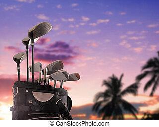 primer plano, de, un, bolsa golf