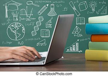 primer plano, de, un, estudiante, usar la computadora portátil