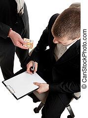 primer plano, de, un, hombre de negocios, firma, un,...