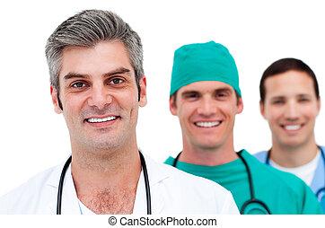 primer plano, de, un, men\'s, equipo médico