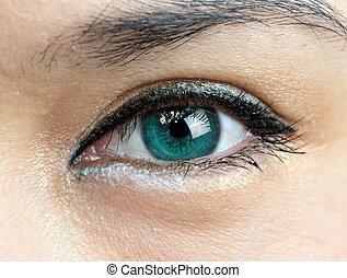 primer plano, de, un, mujer, ojo verde