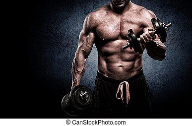 primer plano, de, un, muscular, joven, levantar pesas, en,...