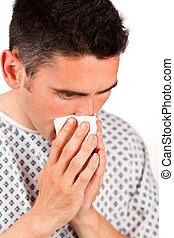 primer plano, de, un, paciente, estornudar