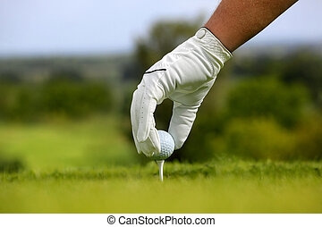 primer plano, de, un, pelota de golf