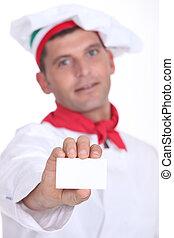 primer plano, de, un, pizza, chef