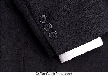 primer plano, de, un, traje, manga, con, un, blanco, puño