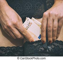 primer plano, ella, dinero, stockings., vista., paliza, ...