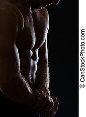 primer plano, en, hombre, actuación, muscular, cuerpo, en,...