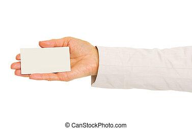 primer plano, en, mano, de, mujer de negocios, tenencia, tarjeta comercial