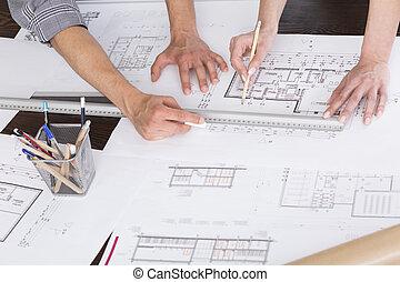primer plano, en, manos, de, arquitectos