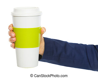 primer plano, en, mujer de negocios, tenencia de la mano, taza, de, bebida caliente