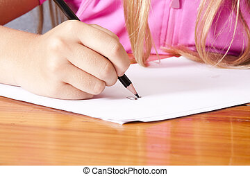 primer plano, escritura, mano, niño