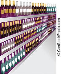 primer plano, estante, vino, tiro, bottles.
