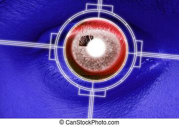 primer plano, exploración, de, azul, globo ocular