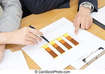 primer plano, financiero, declaraciones, mano