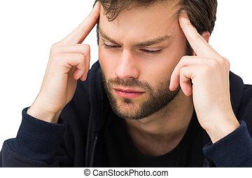 primer plano, guapo, joven, hombre, dolor de cabeza