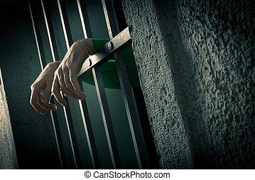 primer plano, hombre, cárcel, manos