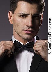 primer plano, joven, arco, corbata, retrato, guapo, hombre