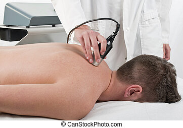 primer plano, laser, fisioterapia, tratamiento