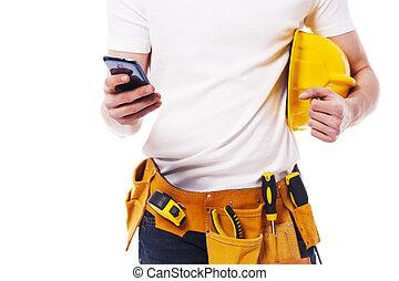primer plano, móvil, construcción, teléfono, utilizar, trabajador