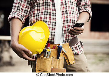 primer plano, móvil, texting, trabajador, teléfono, ...