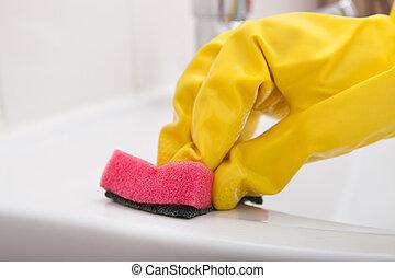 primer plano, mano, fregadero, limpieza