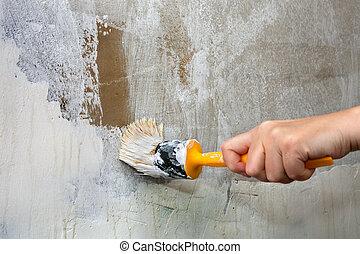 primer plano, manos, asideros, brocha, trabajador, pared de...
