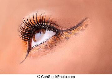 primer plano, maquillaje, ojo