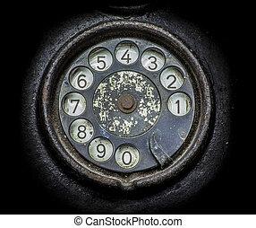 primer plano, negro, viejo, rotatorio, telephone., esfera