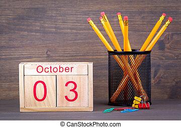 primer plano, octubre, empresa / negocio, de madera, calendar., planificación, 3., plano de fondo, tiempo