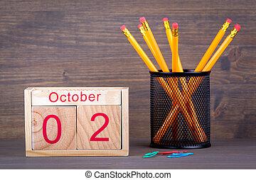 primer plano, octubre, empresa / negocio, de madera, calendar., planificación, plano de fondo, tiempo, 2.