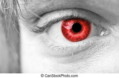 primer plano, ojo, vampiros, rojo