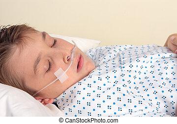 primer plano, -, paciente, ttauma, nasal, cannula