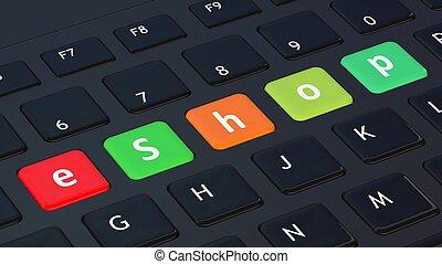 primer plano, palabra, negro, eshop, teclado