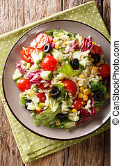 primer plano, plato., vertical, ensalada, vegetariano, meal:, sobre, vegetal, arroz, punta la vista