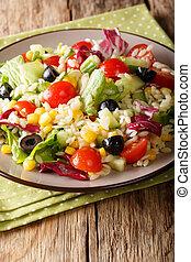 primer plano, plato., vertical, ensalada, vegetariano, meal:, vegetal, arroz