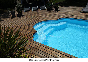 primer plano, privado, piscina, natación