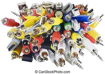 primer plano, red, caos, audio, conectores, vídeo