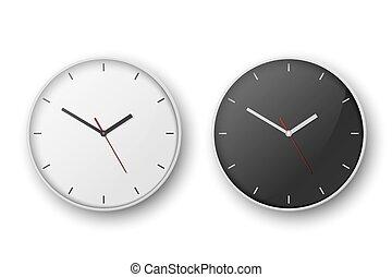 primer plano, reloj, diseño, cima, maqueta, blanco, dial., pared, 3d, plantilla, vector, redondo, aislado, set., oficina, realista, branding, simple, negro, advertise., frente, fondo., o, vista