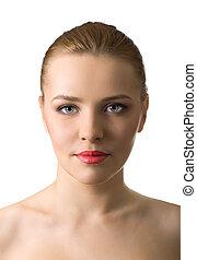 primer plano, retrato, de, mujer hermosa, blanco, plano de fondo