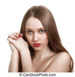 primer plano, retrato, de, sexy, caucásico, mujer joven, con, rojo, brillante, manicura