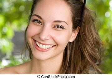 primer plano, retrato, de, un, amistoso, brunette.