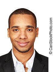 primer plano, retrato, de, un, joven, african - american, hombre de negocios, aislado, blanco, plano de fondo