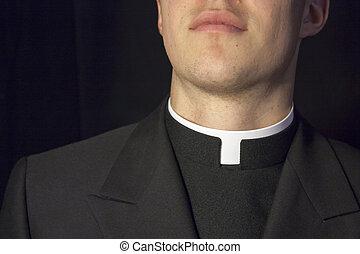 primer plano, sacerdote, cuello