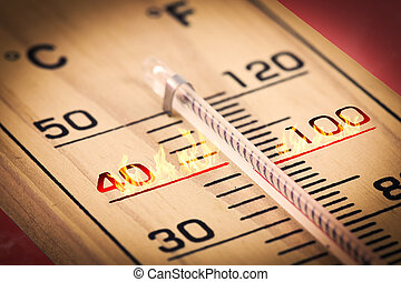 primer plano, temperatura, fahrenheit, caliente, celsius., o