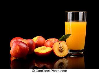 primer plano, tiro, cortar, jugo, nectarinas, naranja, hoja