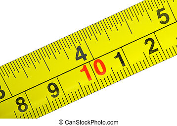 primer plano, tiro, de, amarillo, metal, medida, cinta