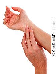 primer plano, tiro, de, mano femenina, pulso de comprobación, aislado, blanco, fondo.