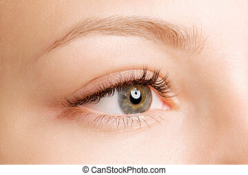 primer plano, tiro, de, ojo femenino, con, día, maquillaje