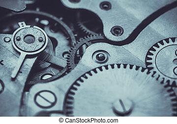 primer plano, viejo, reloj, reloj, mecanismo, aparato de ...